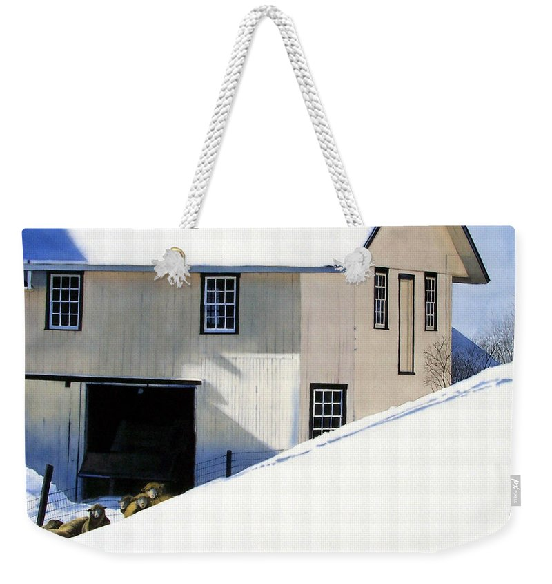 Barn Weekender Tote Bag featuring the painting Fenced In by Denny Bond