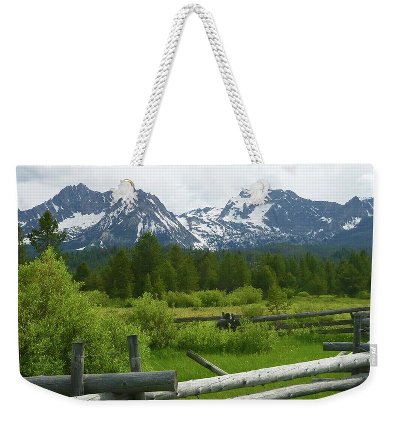 Stanley Basin Weekender Tote Bag featuring the photograph Fenced In Sawtooths by Dan Dixon