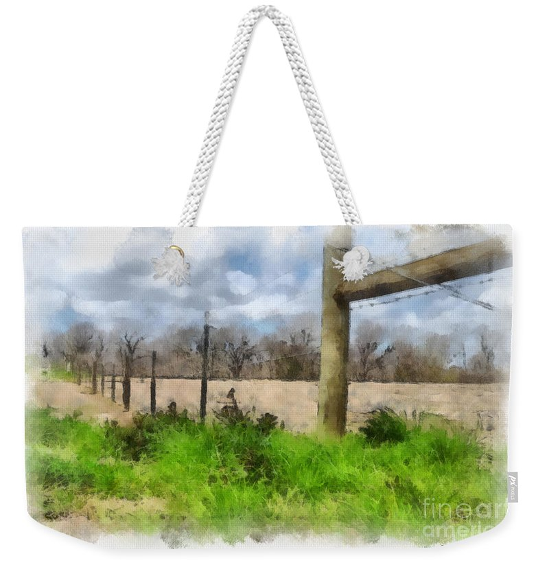 Fenceline Weekender Tote Bag featuring the painting Fenceline by Paulette B Wright