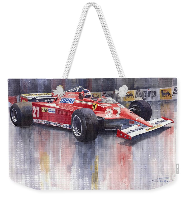Watercolour Weekender Tote Bag featuring the painting Ferrari 126c 1981 Monte Carlo Gp Gilles Villeneuve by Yuriy Shevchuk