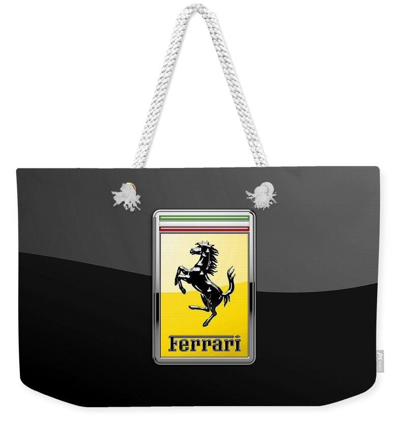 �auto Badges� Collection By Serge Averbukh Weekender Tote Bag featuring the photograph Ferrari 3D Badge- Hood Ornament on Black by Serge Averbukh