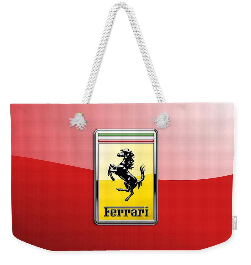 �auto Badges� Collection By Serge Averbukh Weekender Tote Bag featuring the photograph Ferrari 3D Badge-Hood Ornament on Red by Serge Averbukh
