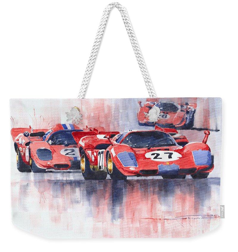 Watercolour Weekender Tote Bag featuring the painting Ferrari 512 S 1970 24 Hours Of Daytona by Yuriy Shevchuk