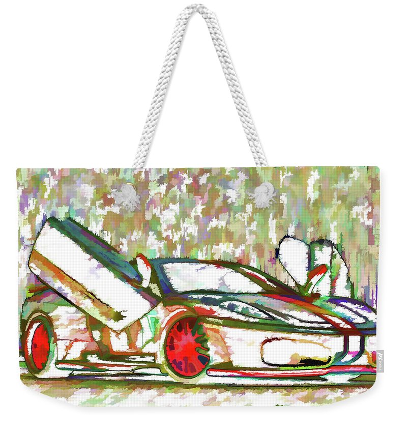 Ferrari Weekender Tote Bag featuring the painting Ferrari 9 by Jeelan Clark