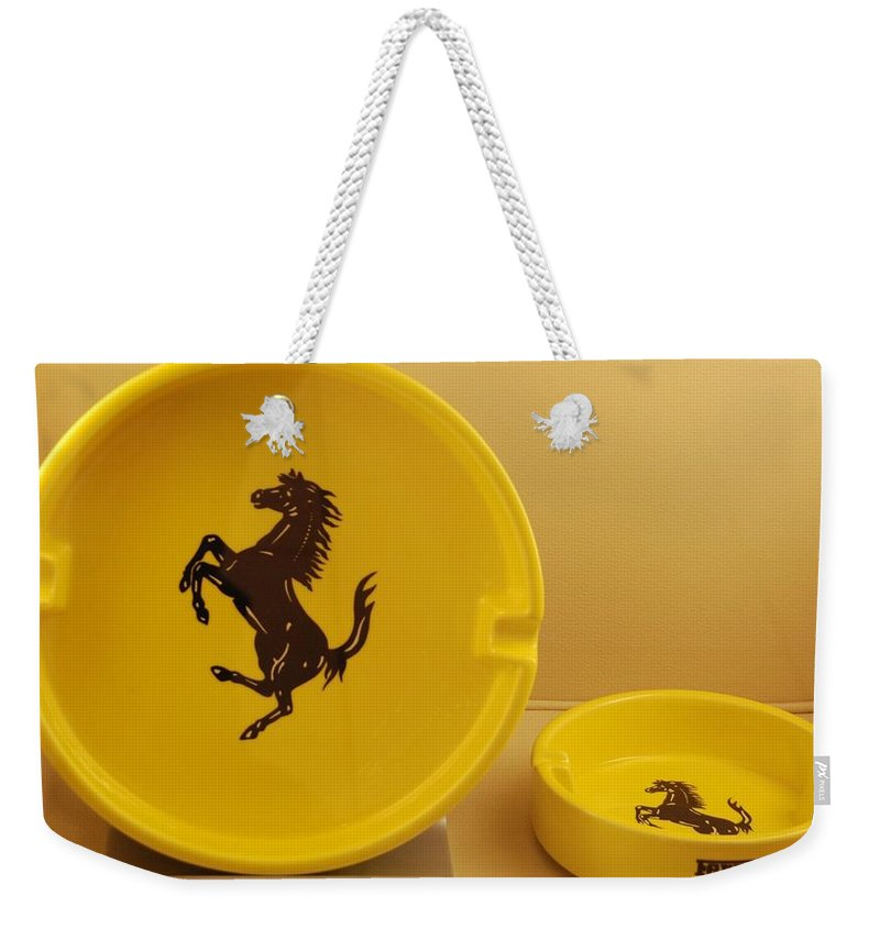 Stallion Weekender Tote Bag featuring the photograph Ferrari Ash Catchers by Rob Hans