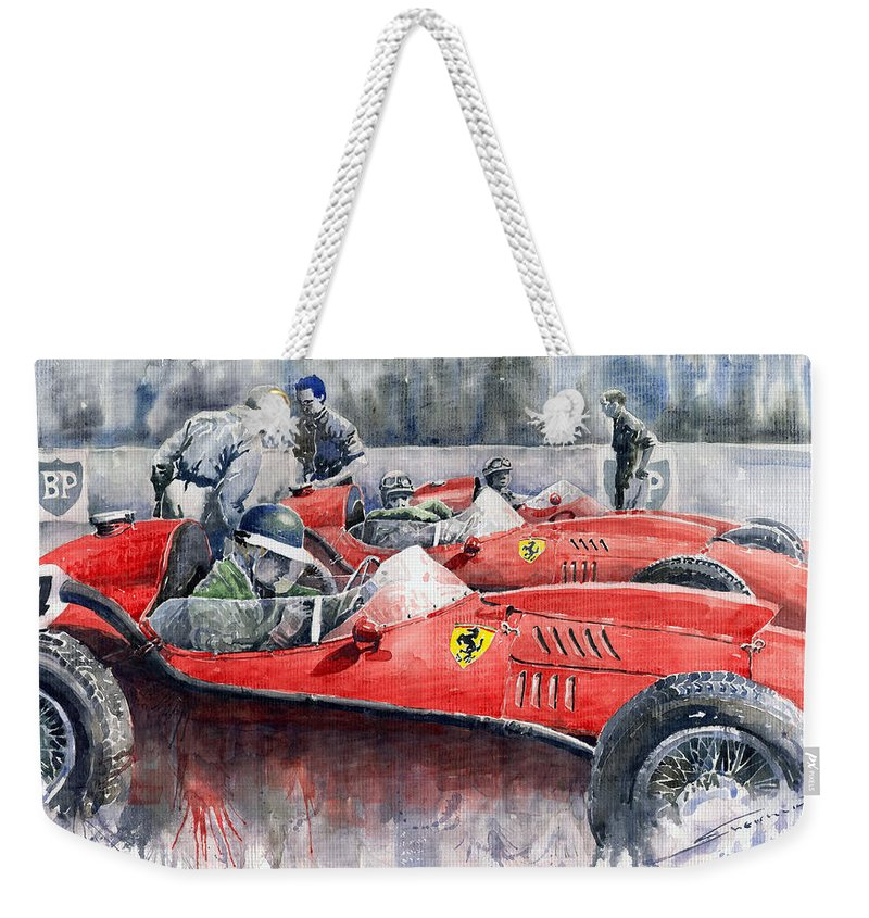 Car Weekender Tote Bag featuring the painting Ferrari Dino 246 F1 1958 Mike Hawthorn French Gp by Yuriy Shevchuk