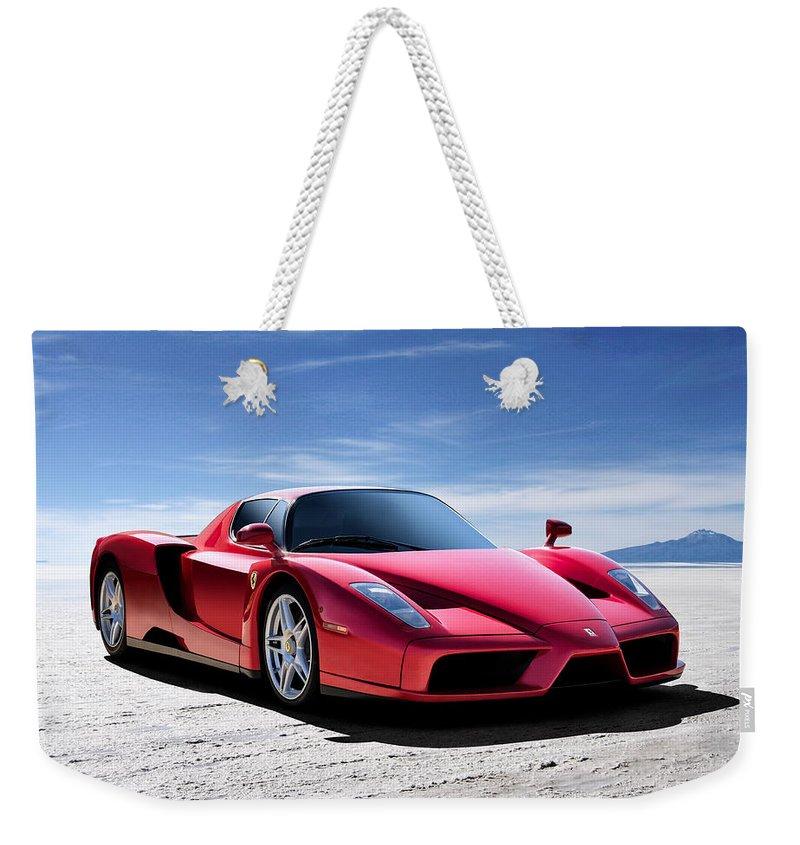 Ferrari Weekender Tote Bag featuring the digital art Ferrari Enzo by Douglas Pittman