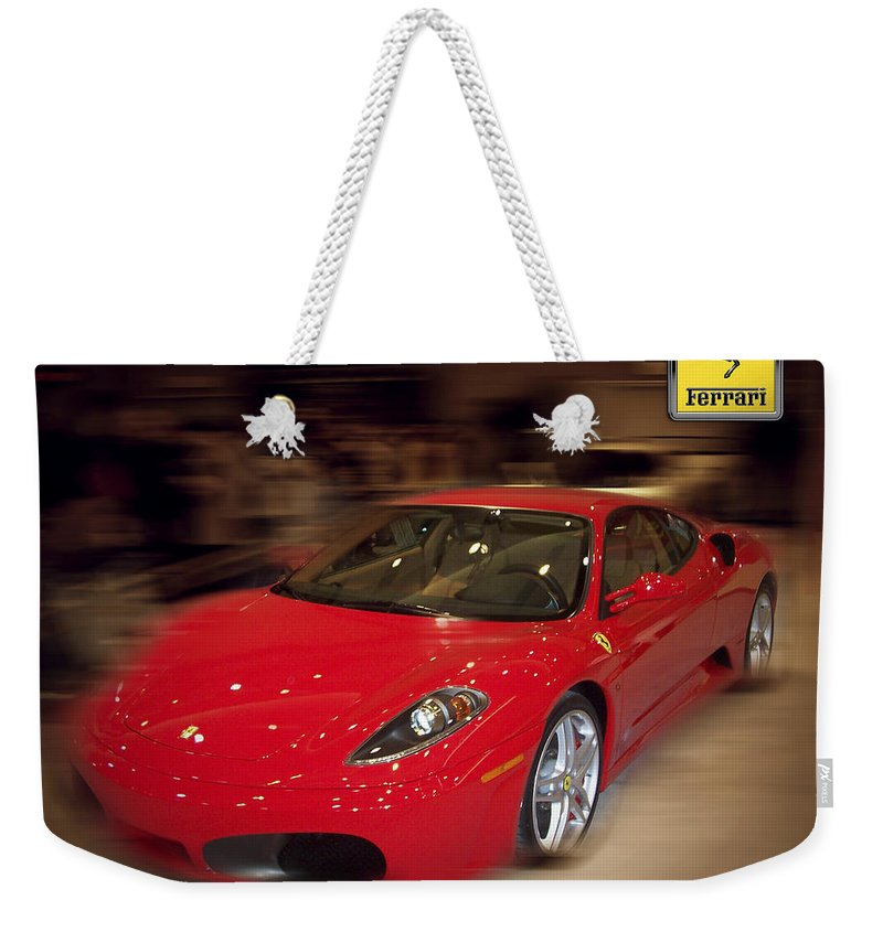 �auto Corner� Collection By Serge Averbukh Weekender Tote Bag featuring the photograph Ferrari F430 - The Red Beast by Serge Averbukh