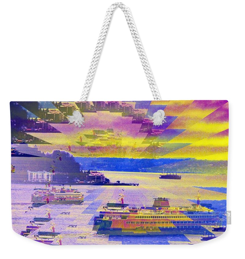 Seattle Weekender Tote Bag featuring the photograph Ferries Off Alki by Tim Allen