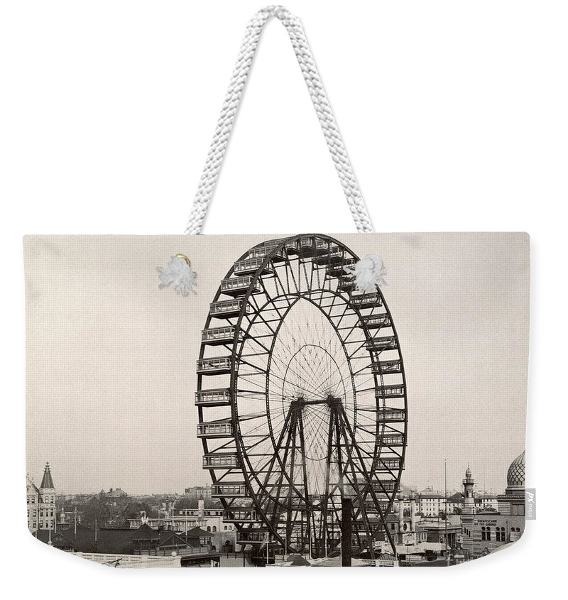 1893 Weekender Tote Bag featuring the photograph Ferris Wheel, 1893 by Granger