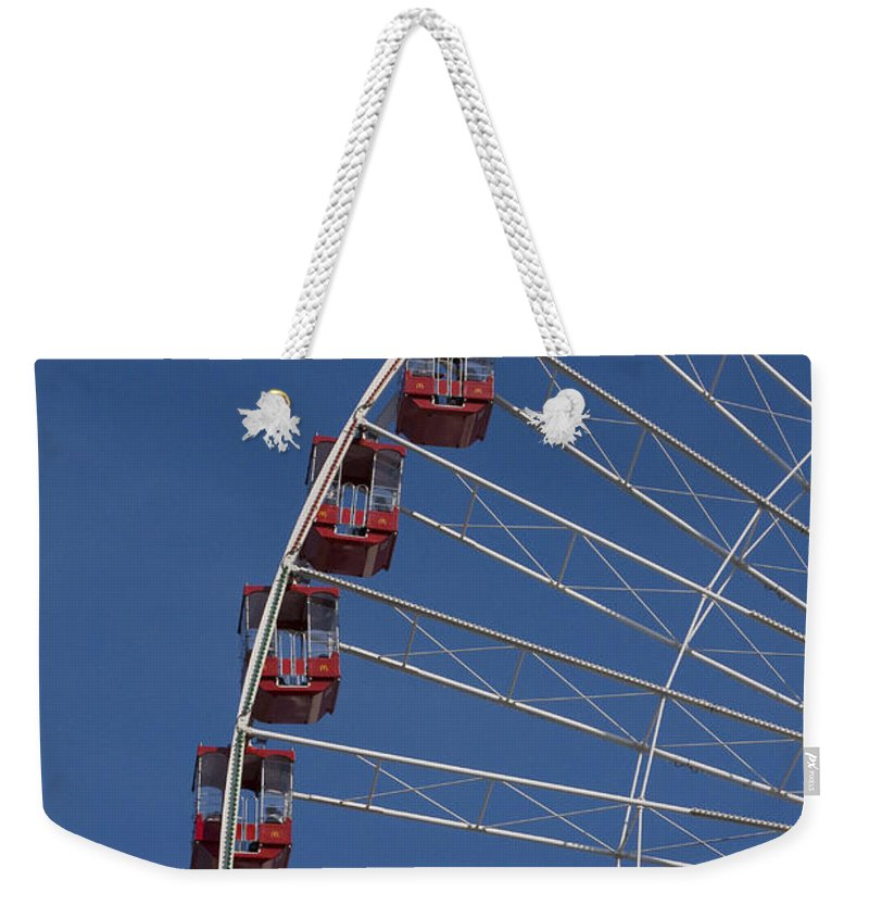 Chicago Navy Pier Windy City Ferris Wheel Attraction Blue Sky Red Tourist Tourism Travel Weekender Tote Bag featuring the photograph Ferris Wheel II by Andrei Shliakhau