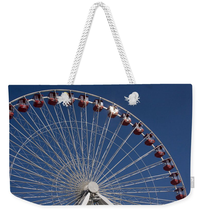 Chicago Ferris Wheel Navy Pier Windy City Attraction Tourist Tourism Travel Blue Sky Weekender Tote Bag featuring the photograph Ferris Wheel IIi by Andrei Shliakhau