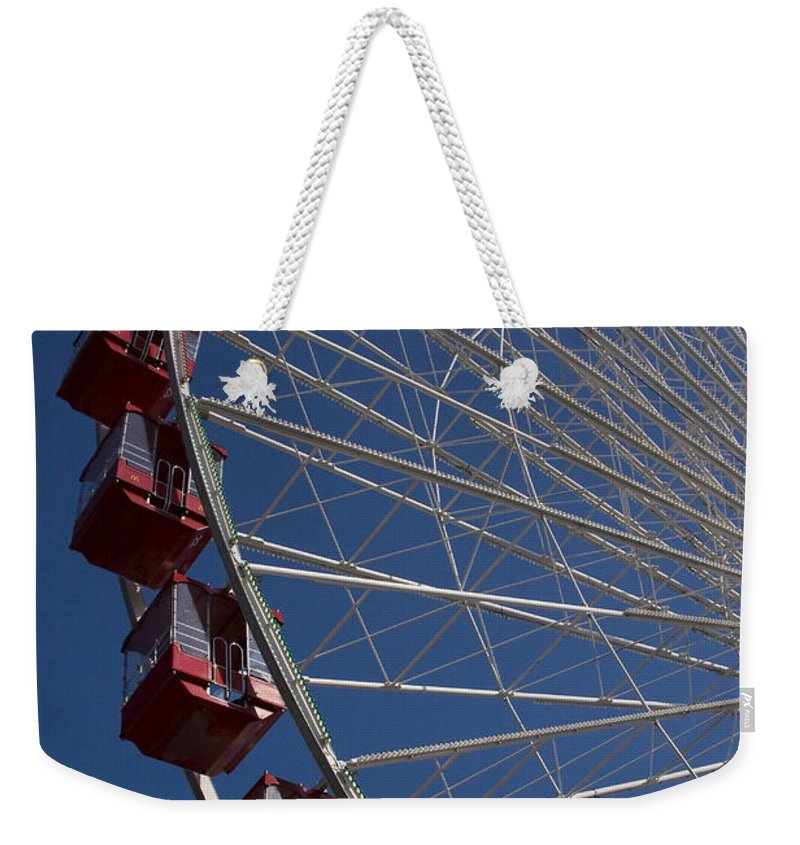 Chicago Windy City Ferris Wheel Navy Pier Attraction Tourism Round Tourist Travel Blue Sky Park Weekender Tote Bag featuring the photograph Ferris Wheel Iv by Andrei Shliakhau