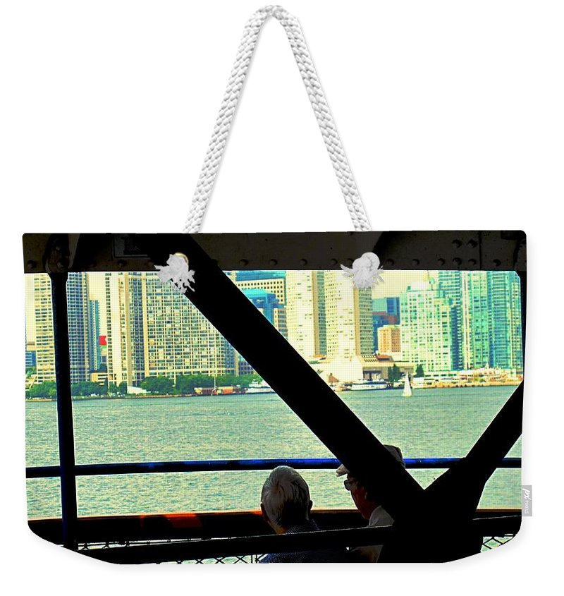 Ferry Weekender Tote Bag featuring the photograph Ferry Across The Harbor by Ian MacDonald