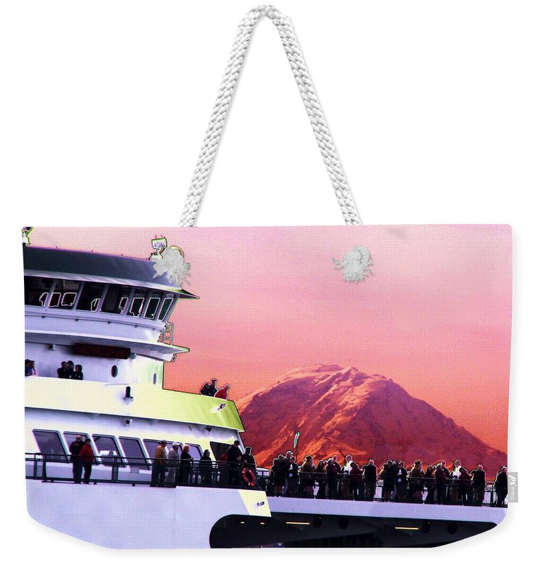 Seattle Weekender Tote Bag featuring the digital art Ferry And Da Mountain by Tim Allen