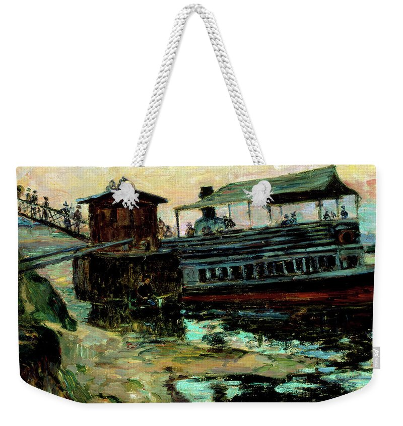 Ferry Boat  Weekender Tote Bag featuring the painting Ferry Boat by Baptiste Armand