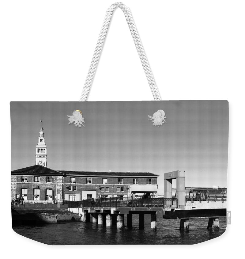 City Weekender Tote Bag featuring the photograph Ferry Building And Pinnacle Building - San Francisco Embarcadero - Black And White by Matt Harang