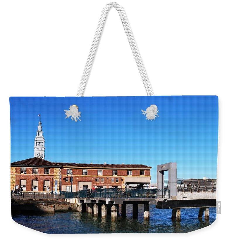 City Weekender Tote Bag featuring the photograph Ferry Building And Pinnacle Building - San Francisco Embarcadero by Matt Harang