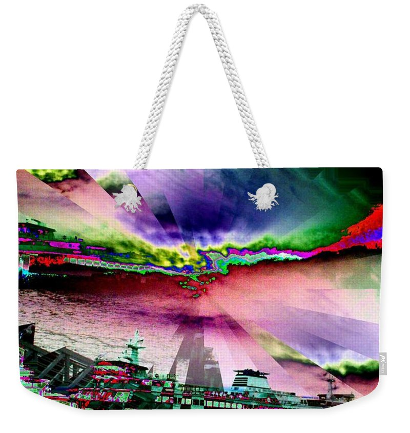 Seattle Weekender Tote Bag featuring the digital art Ferry Illusion by Tim Allen