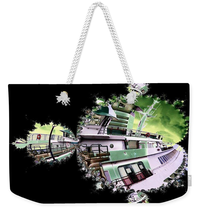 Seattle Weekender Tote Bag featuring the digital art Ferry In Fractal by Tim Allen