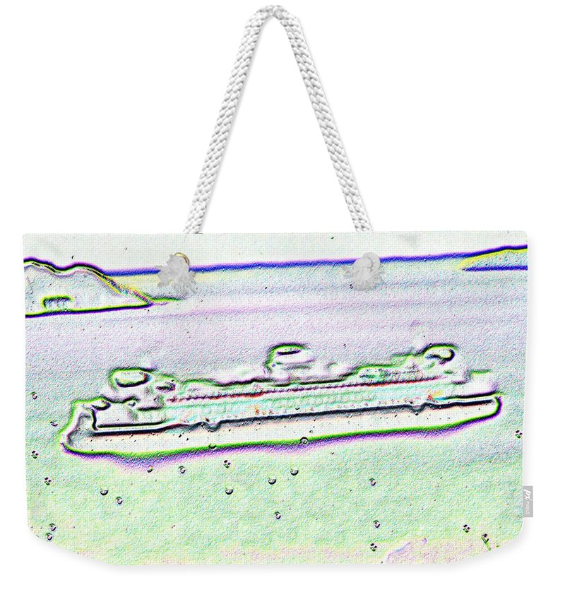 Seattle Weekender Tote Bag featuring the photograph Ferry In The Rain by Tim Allen