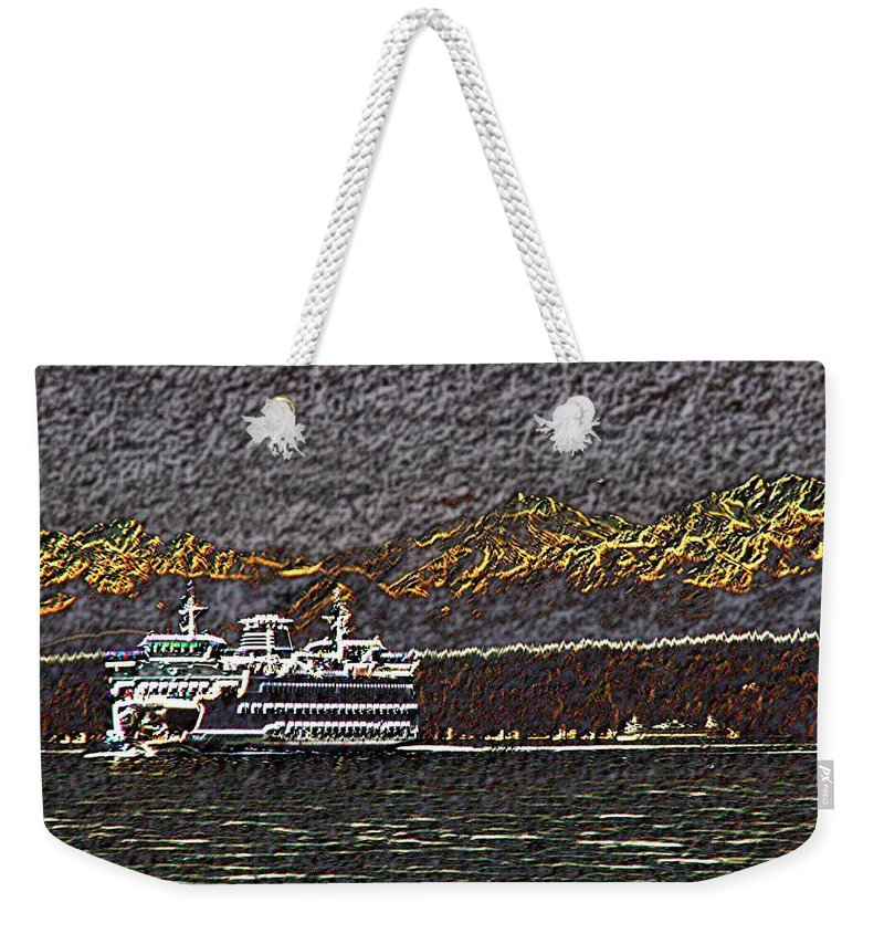Ferry Weekender Tote Bag featuring the digital art Ferry On Elliott Bay 3 by Tim Allen