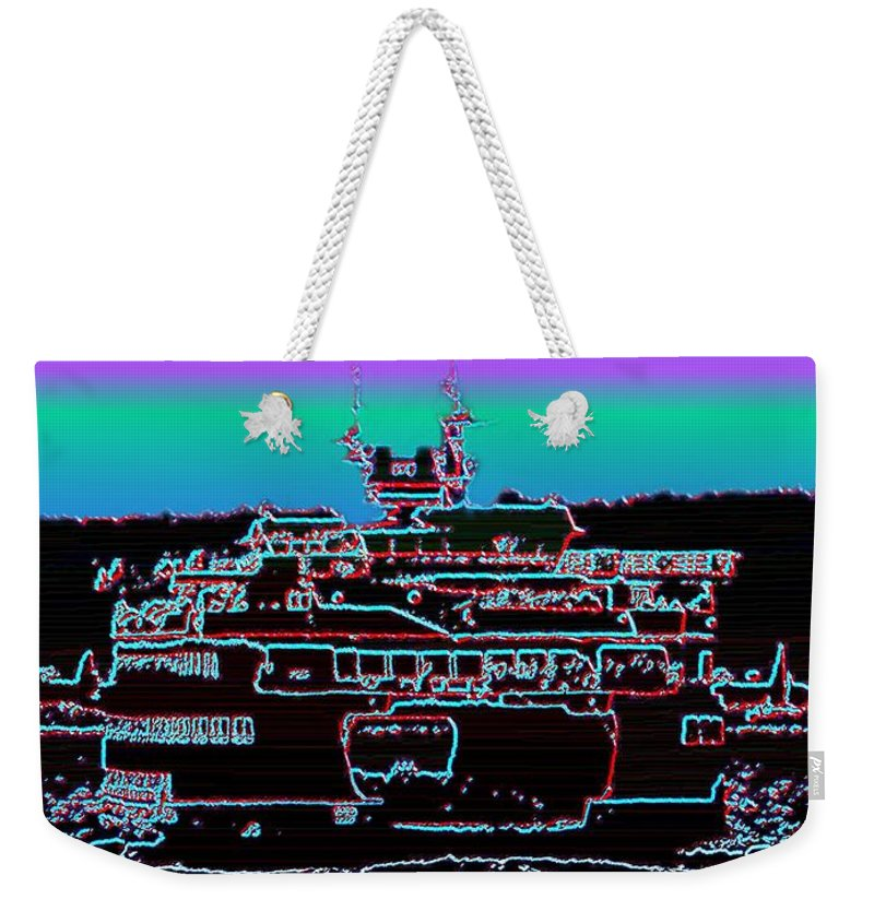 Seattle Weekender Tote Bag featuring the photograph Ferry On Elliott Bay 4 by Tim Allen