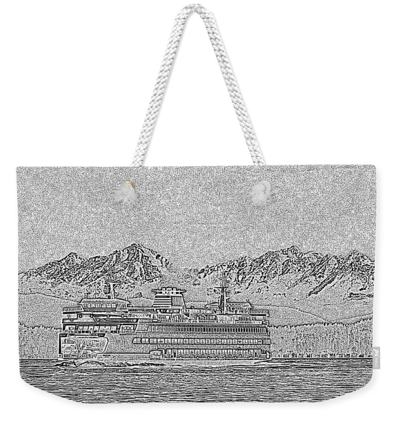 Seattle Weekender Tote Bag featuring the photograph Ferry On Elliott Bay 5 by Tim Allen