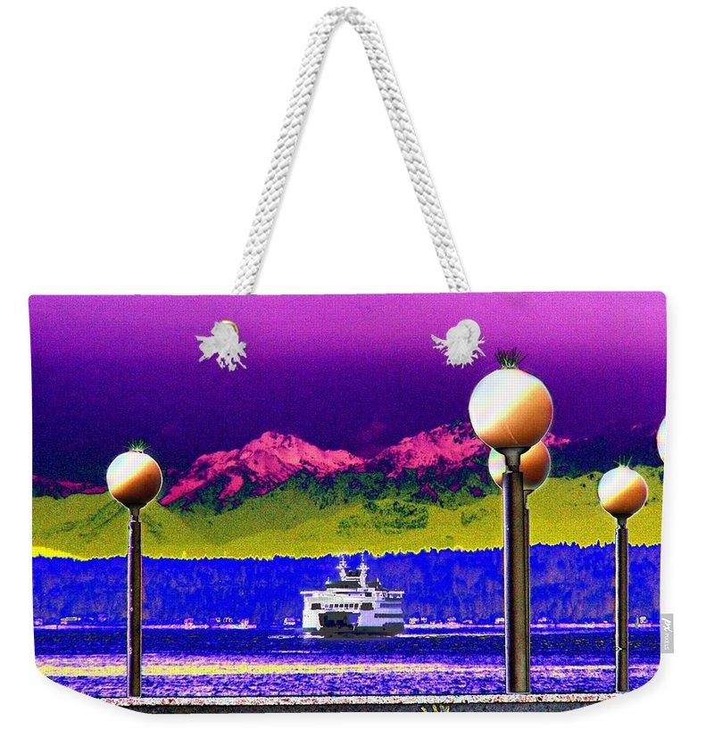 Seattle Weekender Tote Bag featuring the digital art Ferry On Elliott Bay by Tim Allen