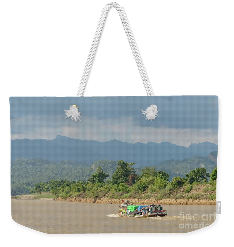 River Weekender Tote Bag featuring the photograph Ferry On The Chindwin 2 by Werner Padarin