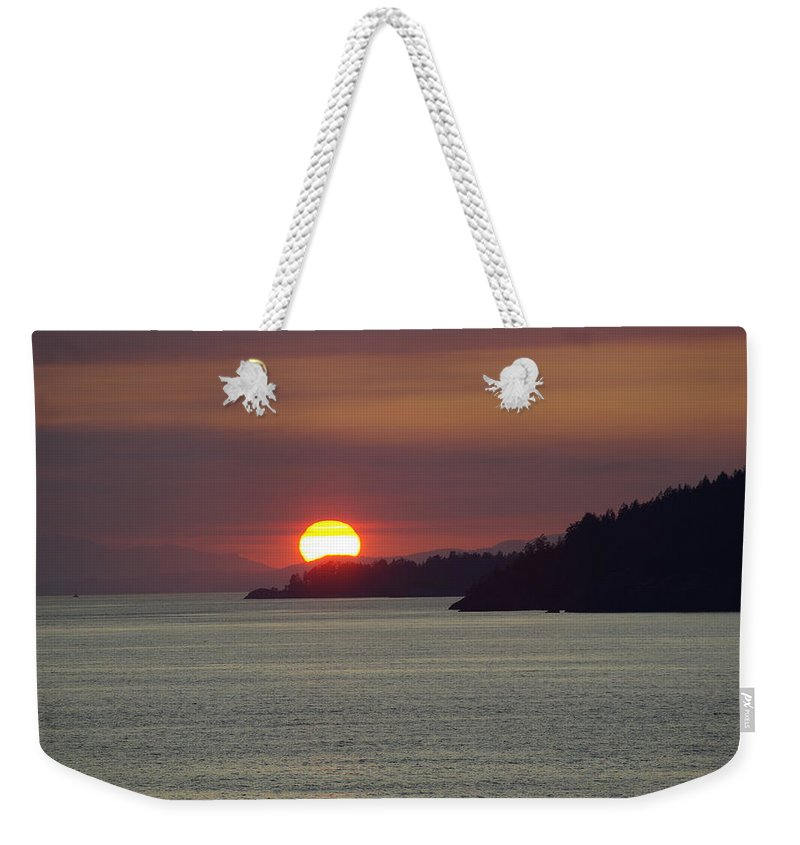 Sunset Weekender Tote Bag featuring the photograph Ferry Sunset by Cindy Johnston