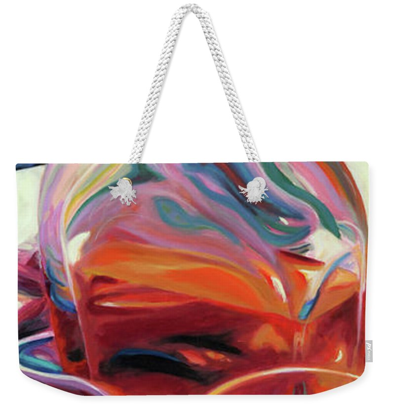 Glass Weekender Tote Bag featuring the painting Fervor by Trina Teele