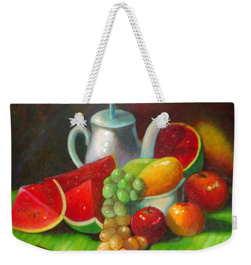Still Life Weekender Tote Bag featuring the painting Festive Ritual by Matthew Doronila