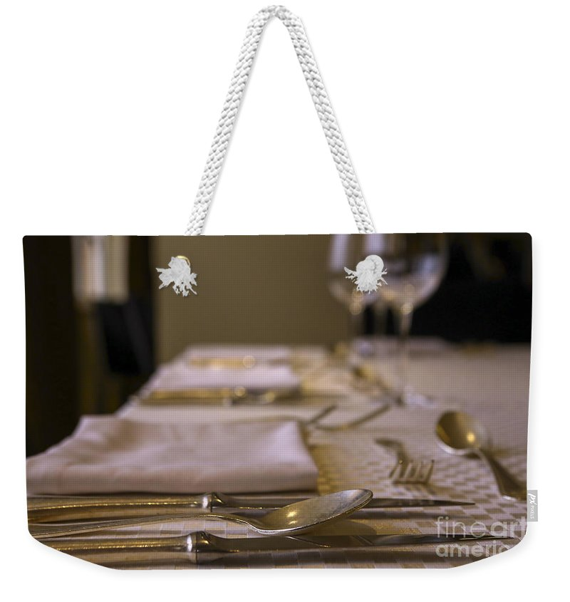 Atmosphere Weekender Tote Bag featuring the photograph Festive Table Setting For A Formal Dinner by Oren Shalev