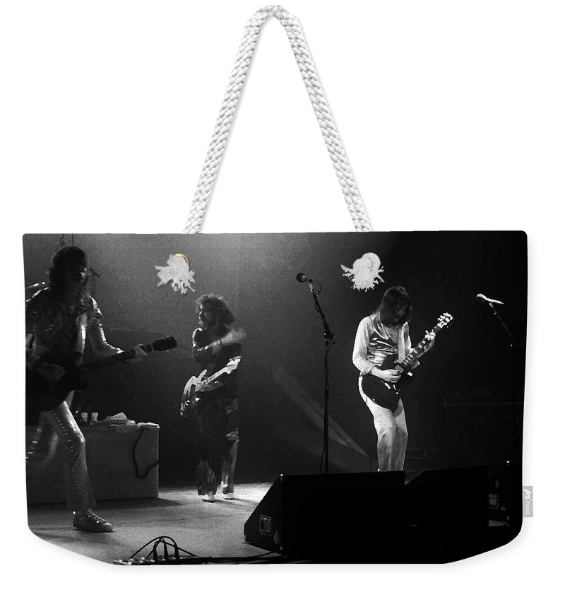 Foghat Weekender Tote Bag featuring the mixed media Fhat#68 Enhanced Bw by Ben Upham