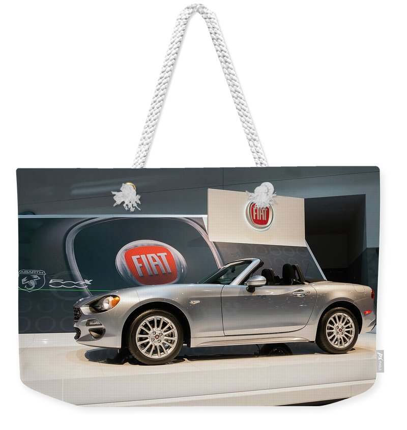 Fiat Weekender Tote Bag featuring the photograph Fiat 124 Spider by Robert VanDerWal