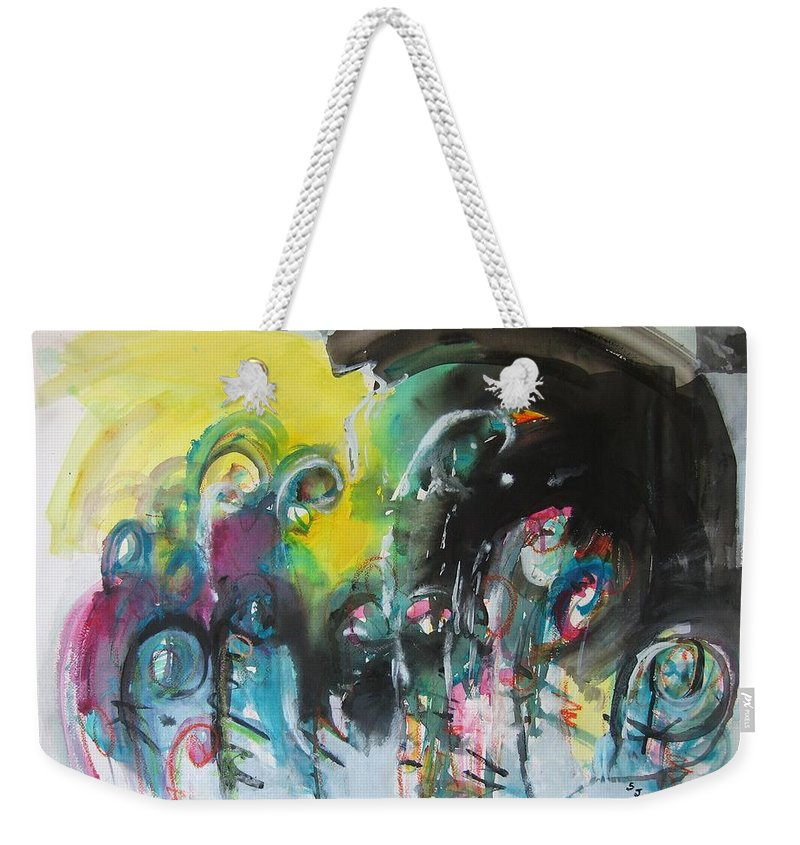 Fiddleheads Painting Weekender Tote Bag featuring the painting Fiddleheads 105- Original Abstract Colorful Landscape Painting For Sale Red Blue Green by Seon-Jeong Kim