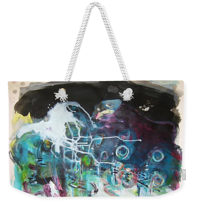Fiddleheads Paintings Weekender Tote Bag featuring the painting Fiddleheads 300 by Seon-Jeong Kim