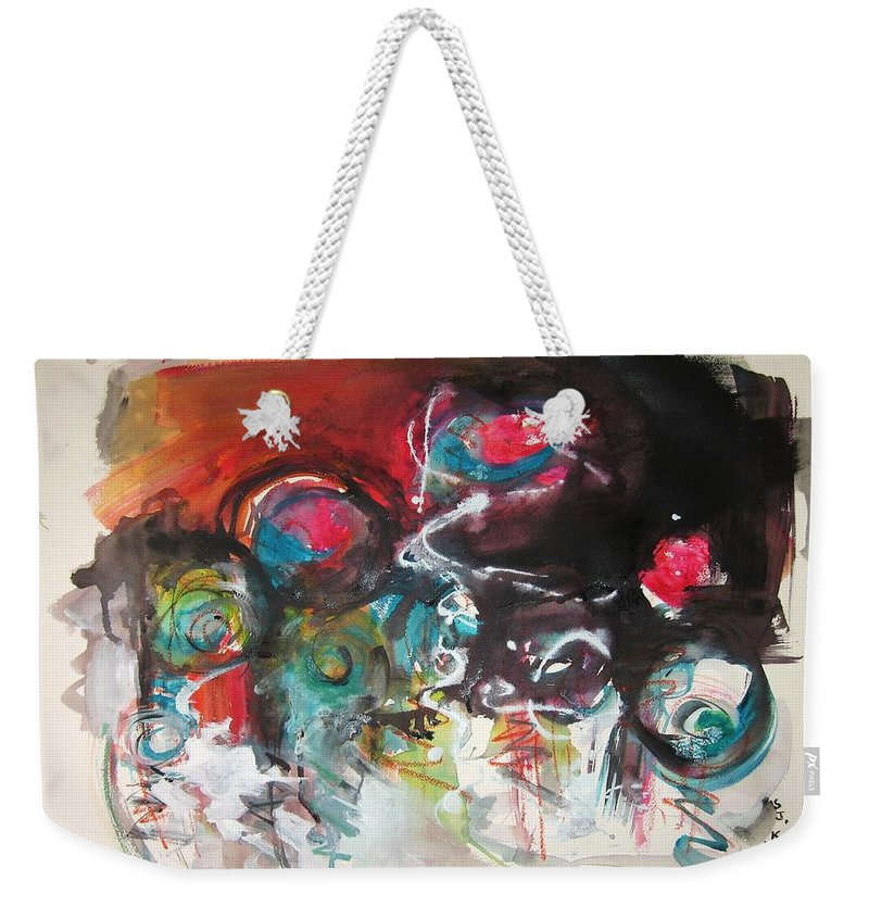 Fiddleheads Paintings Weekender Tote Bag featuring the painting Fiddleheads- Landscape Painting For Sale Red Blue Green by Seon-Jeong Kim