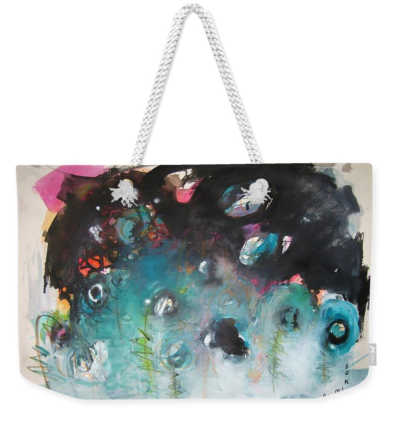 Fiddleheads Paintings Weekender Tote Bag featuring the painting Fiddleheads- Original Abstract Colorful Landscape Painting For Sale Red Blue Green by Seon-Jeong Kim