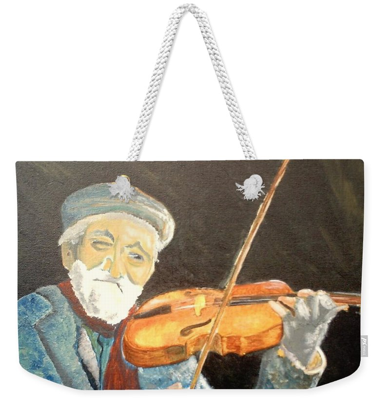 Hungry He Plays For His Supper Weekender Tote Bag featuring the painting Fiddler Blue by J Bauer