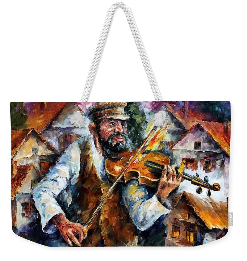 Judiac Weekender Tote Bag featuring the painting Fiddler From The Sky by Leonid Afremov