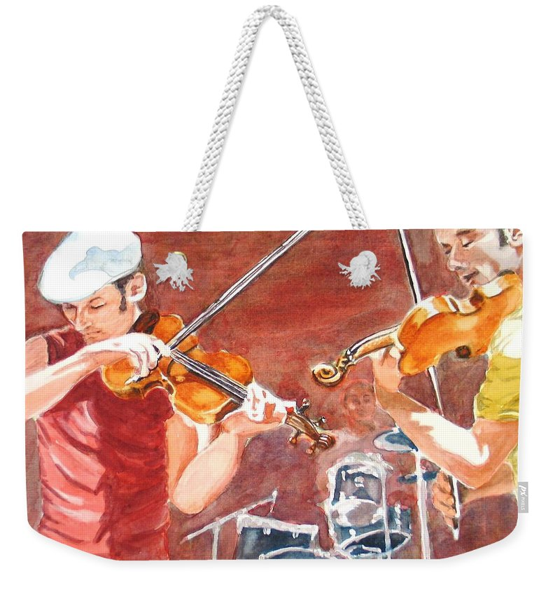 Musicians Weekender Tote Bag featuring the painting Fiddles by Karen Ilari