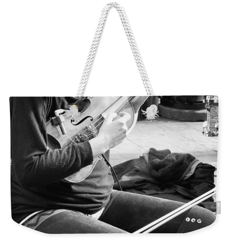 Nola Weekender Tote Bag featuring the photograph Fiddling Around In Jackson Square-nola by Kathleen K Parker