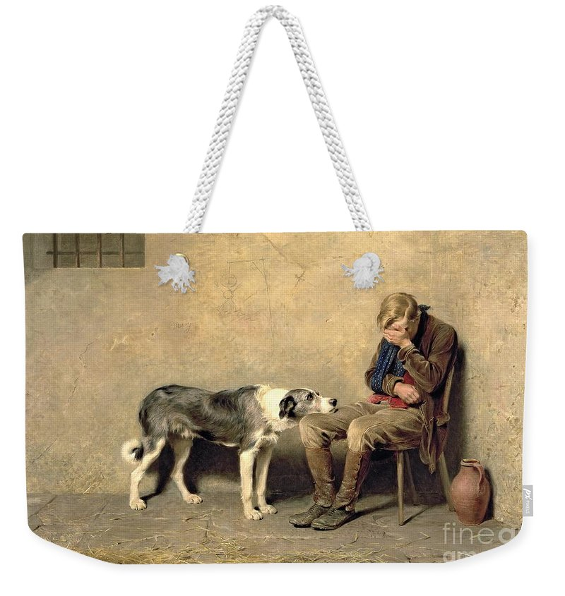 Fidelity Weekender Tote Bag featuring the painting Fidelity by Briton Riviere