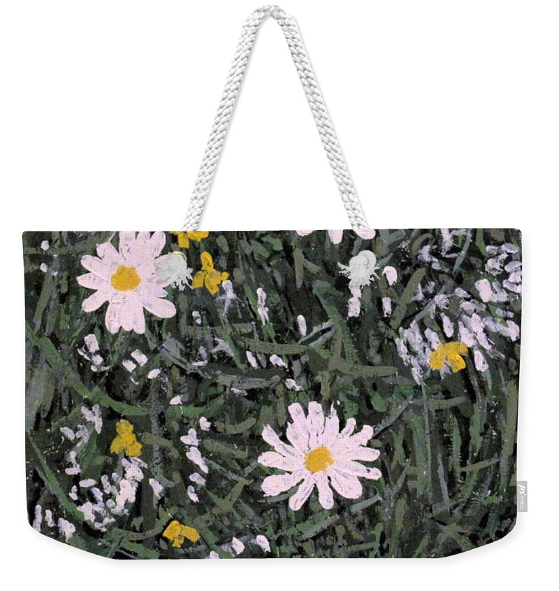 Daisies Weekender Tote Bag featuring the painting Field Daisies by Ian MacDonald