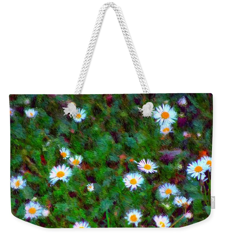 Digital Photograph Weekender Tote Bag featuring the photograph Field Of Daisys by David Lane
