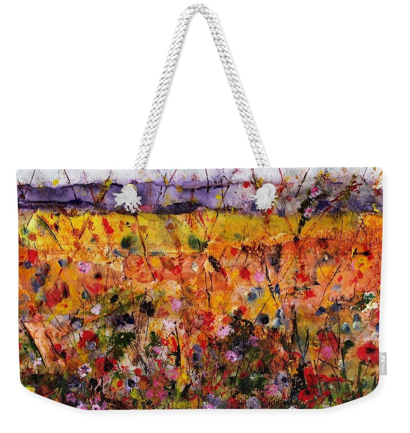 Flowers Weekender Tote Bag featuring the painting Field Of Dreams by Frances Marino