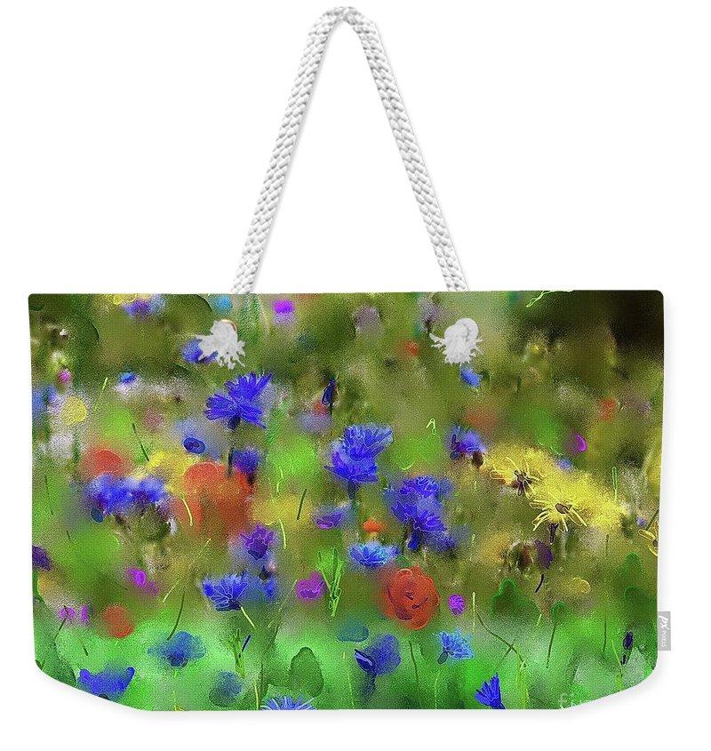 Flowers Weekender Tote Bag featuring the painting Field Of Flowers by Karen Harding