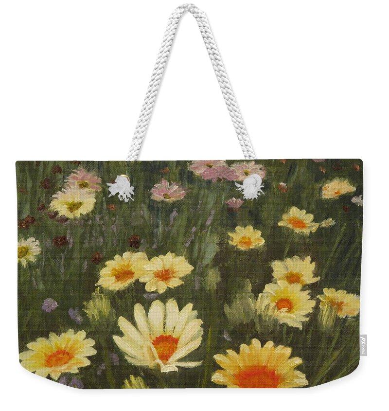 Flower Weekender Tote Bag featuring the painting Field Of Flowers by Lea Novak